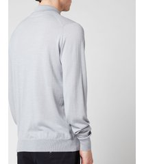 john smedley men's cbelpar long sleeve polo shirt - pebble grey - xxl