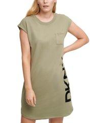 dkny cap-sleeve logo t-shirt dress