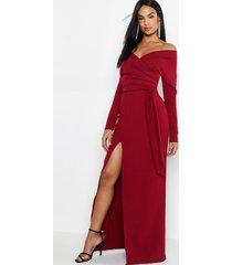 tall off the shoulder thigh split maxi dress, berry