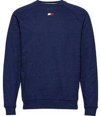 fleece crew logo sweat-shirt tröja blå tommy sport