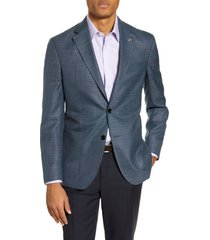 men's ted baker london kyle trim fit solid wool sport coat, size 38 s - blue/green