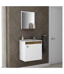 kit gabinete p/ banheiro móveis bechara siena madeira rústica/branco
