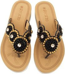 cómodo casual sandalias de mujer perla-negro