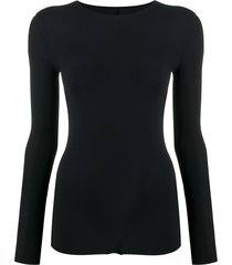 maison margiela long-sleeved jersey bodysuit - black
