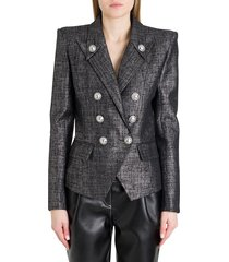 balmain doubòle-breasted blazer in lamé tweed