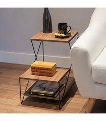 mesa lateral metaltru 3 níveis preta com tampa castanho
