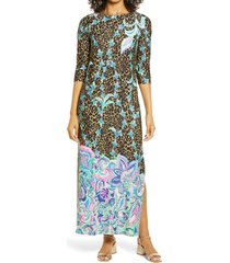 women's lilly pulitzer chillylilly seraline upf 50+ maxi dress, size xx-small - black