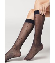 calzedonia patterned knee-high socks woman blue size tu