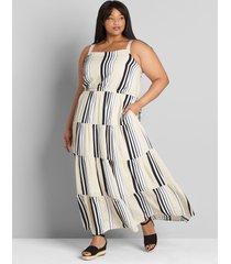 lane bryant women's striped square-neck tiered maxi dress 14 black and white stripe