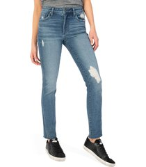 women's kut from the kloth chrissie ab fab ripped high waist straight leg jeans, size 16 - blue