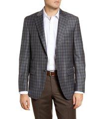 men's big & tall peter millar flynn classic fit plaid wool sport coat, size 54l - grey