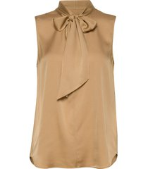 satin stretch - marley ss blouse mouwloos beige sand