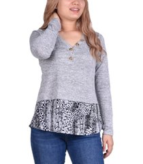 ny collection petite layered-look printed-hem top