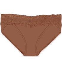 natori bliss perfection one-size v-kini bra, women's, brown, 100% cotton natori