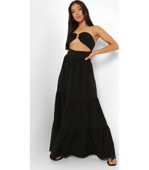 petite geweven strapless maxi jurk met ring detail, black