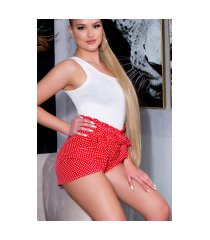 sexy hoge taille stof-shorts met polka stippen en riem rood