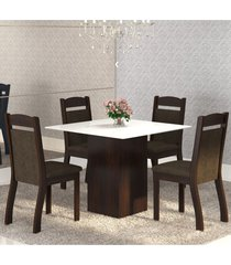 mesa de jantar 4 lugares brilho ameixa/chocolate/branco - mobilarte