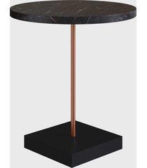 mesa lateral redonda tube marquina/cobre artesano preta/cobre