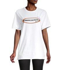 roberto cavalli sport women's logo t-shirt - optic white - size s