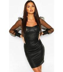 dobby mesh faux leather mini dress, black
