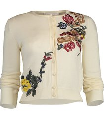 cropped floral applique cardigan