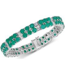 emerald (18 ct. t.w.) & white topaz (2 ct. t.w.) tennis bracelet in sterling silver