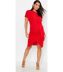 zwangerschap midi jurk met ceintuur en vleermuismouwen, rood