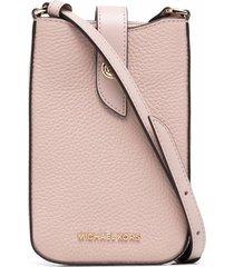 michael michael kors leather smartphone shoulder bag - pink