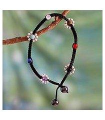 gemstone anklet, 'chakra peace spirit' (india)