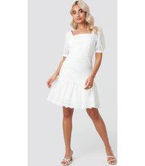 trendyol brode detailed mini dress - white