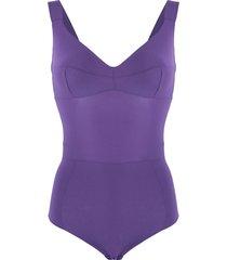 murmur grid fitted bodysuit - purple