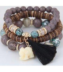bracciale multistrato di boemia animal elephant cuore colorful bracciale con ciondolo nappa con perline per le donne