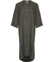 tiffany tiffany x lång linne skjortklänning mörk armé, 18970
