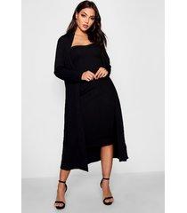 bandeau dress & duster co-ord set, black