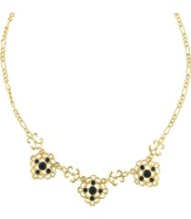 "2028 gold-tone jet filigree collar necklace 16"" adjustable"