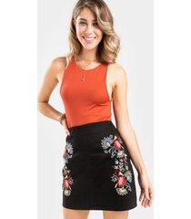 quinley embroidered mini skirt - black