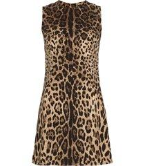 dolce & gabbana leopard shift mini dress - brown