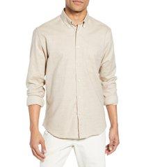 men's billy reid tuscumbia slim fit cotton & cashmere shirt, size x-large - beige