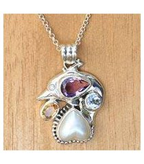 multi-gemstone sterling silver pendant necklace, 'jumping dolphin' (indonesia)