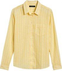 blusa lino quinn amarillo banana republic