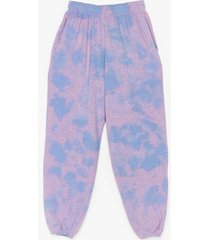 womens head in the clouds high-waisted tie dye joggers - purple