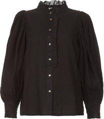 gestreepte blouse met pofmouwen yvette  zwart