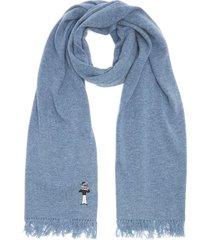 mr slowboy motif embroidered fringe scarf