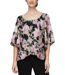 alex evenings printed tulip-hem blouse