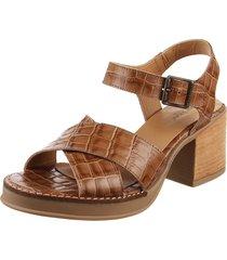 sandalia de cuero marrón lady stork gianina