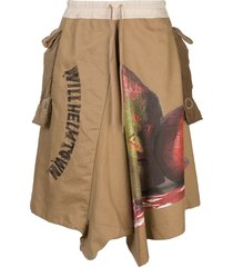 bernhard willhelm graphic print drop-crotch trousers - brown
