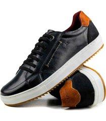 sapatãªnis casual tchwm shoes  4050 couro adulto - preto - masculino - couro - dafiti