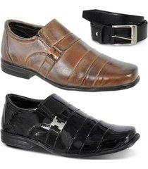 kit 2 pares sapato social infantil e um cinto leoppé couro - masculino