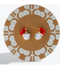 cubic zirconia santa hat earrings - red