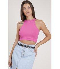 top cropped feminino básico halter neck canelado pink